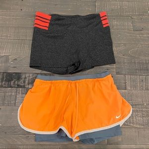 2pairs shorts. Nike. Workout wear EUC.